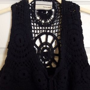 Black sleeveless top with crochet